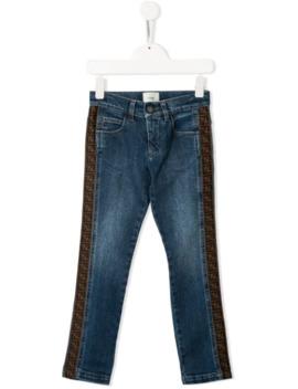 Side Stripe Logo Jeans by Fendi Kids