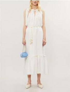 Zinnia Tie Shoulder Linen Midi Dress by Zimmermann
