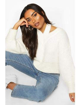 Cut Out Shoulder Fluffy Knit Jumper by Boohoo