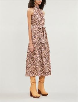 Super Eight Leopard Print Sleeveless Silk Crepe Midi Dress by Zimmermann