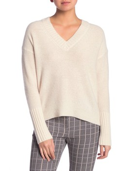 Eliza V Neck Cashmere High/Low Sweater by 360 Cashmere