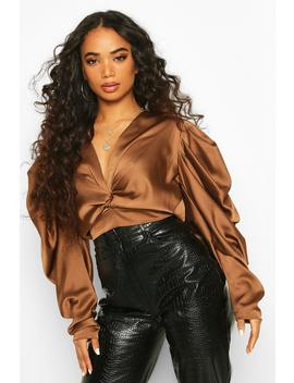 Petite Volume Sleeve Twist Front Satin Top by Boohoo