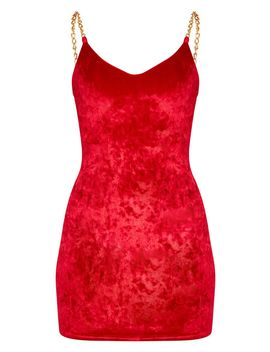 Red Velvet Chain Strap Detail Bodycon Dress by Prettylittlething