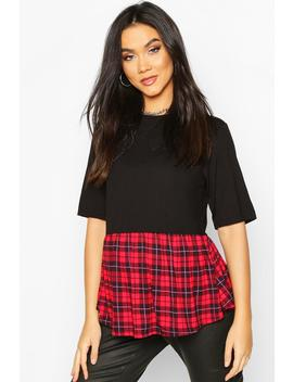 Maternity Contrast Check Smock Top by Boohoo