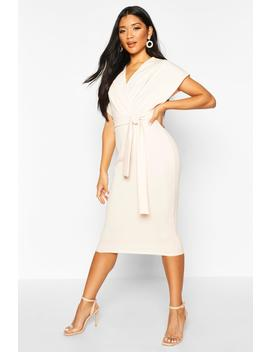 Wrap Front Back Tie Midi Dress by Boohoo