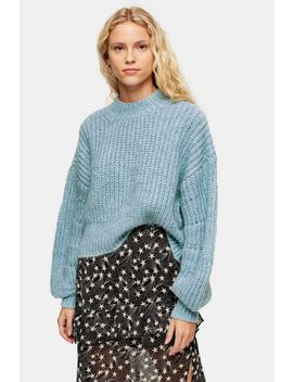 Tall Pale Blue Banana Sleeve Cropped Jumper by Topshop