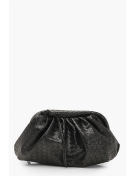 Slouchy Mini Weave Clutch Bag by Boohoo