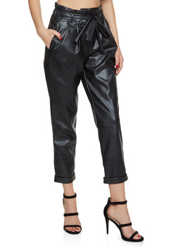 Faux Leather Paper Bag Waist Pants by Rainbow