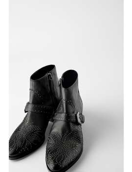 Micro Studded Heeled Leather Cowboy Ankle Boots by Zara