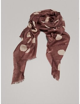 Polka Dot Print 100% Wool Scarf by Massimo Dutti