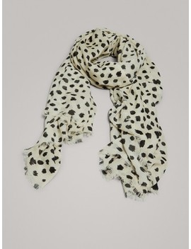 Spot Print 100% Wool Scarf by Massimo Dutti