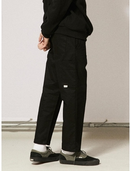 [Unisex] Pl057 Banding Straight Cotton Pants Black by Urbandtype