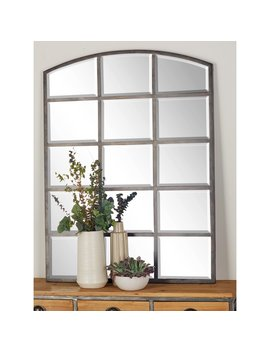 Dec Mode Wood And Iron Arched Window Paneled Glass Wall Mirror   36 W X 48 H In. by Dec Mode