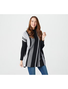 Studio By Denim &Amp; Co. Striped Long Sleeve Poncho by Studio By Denim & Co® Fashions.