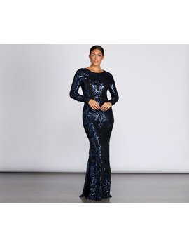 Teddi Sequin Long Sleeve Gown by Windsor