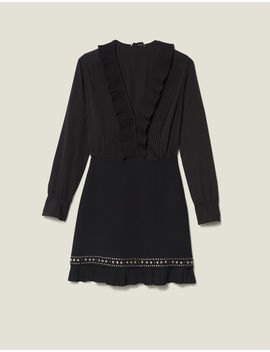 Short Dress With Pleats And Studs by Sandro Paris
