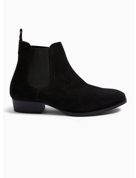 Black Suede Rein Harness Chelsea Boots by Topman