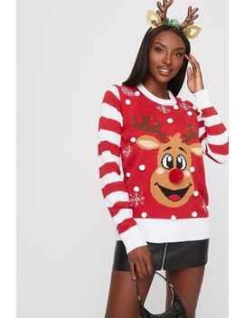 Rudolph Pom Pom Light Up Ugly Christmas Sweater by Urban Planet