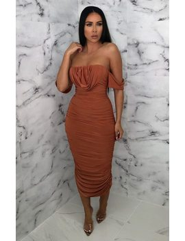 Rust Bardot Cowl Neck Ruched Midi Dress   Malia by Femme Luxe