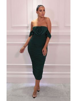 Emerald Bardot Cowl Neck Ruched Midi Dress   Malia by Femme Luxe