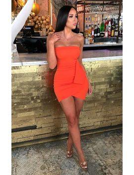 Orange Strapless Tie Side Mini Dress   Chante by Femme Luxe
