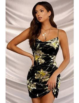 Velvet Dreams Dress   Black Floral by Miss Lola