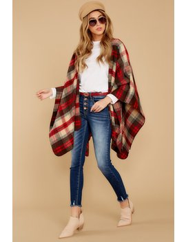 Meet Me At The Cabin Red Multi Plaid Poncho Cardigan by Hyfve