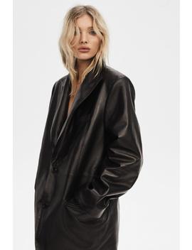 Elsa Birthday Blazer In Black Leather by J Brand