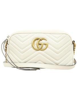 Marmont Gg Small Matelassé White Calfskin Shoulder Bag by Gucci