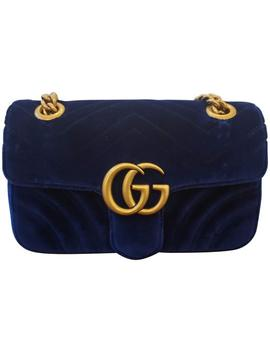 Flap Marmont Navy Gg Velvet Shoulder Bag by Gucci