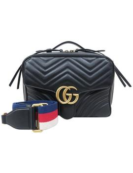 Marmont Gg Small Handle Black Calfskin Satchel by Gucci
