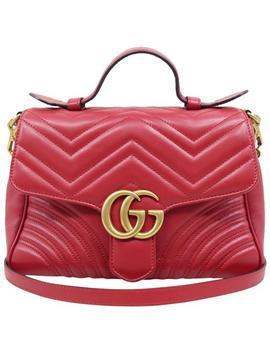Marmont Gg Matelassé Top Handle Red Calfskin Satchel by Gucci