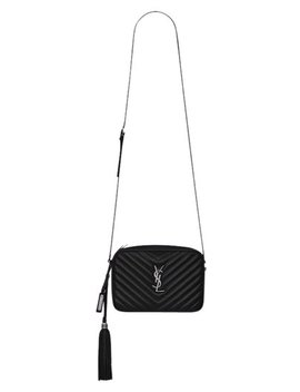 Lou Camera Monogram Ysl Chevron Gun Metal Silver Black Calfskin Leather Cross Body Bag by Saint Laurent