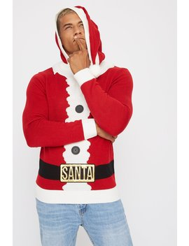 Santa Hooded Ugly Christmas Sweater by Urban Planet