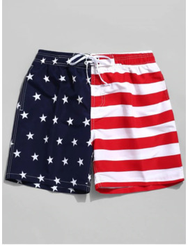 American Flag Print Casual Board Shorts   Red S by Zaful