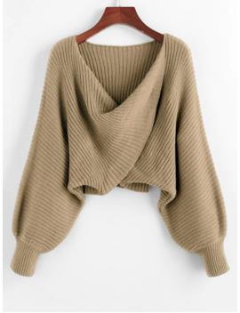Hot Sale Twist Asymmetric Crop Sweater   Light Khaki S by Zaful
