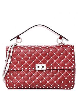 Valentino Lambskin Large Free Rockstud Spike Shoulder Bag Red by Valentino