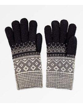 Empyre Sasha Black, Grey & White Chenille Gloves by Zumiez