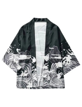 Hot Sale Dragon And Wave Print Collarless Kimono Cardigan   Black S by Zaful