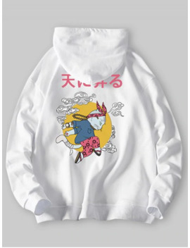 Cartoon Cat Cloud Letter Graphic Hoodie   White S by Zaful