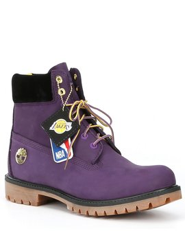 Men's 6 Inch Waterproof Suede Los Angeles Lakers Nba Lace Up Boot by Timberland