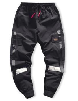 Popular Side Flap Pocket Spliced Applique Cargo Jogger Pants   Black M by Zaful