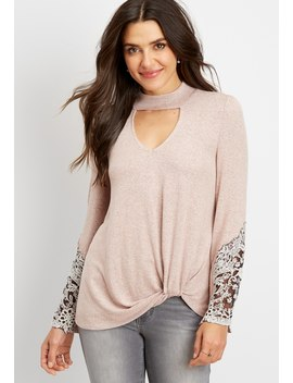 Cut Out Mock Neck Lace Trim Top by Maurices