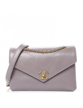 Chanel Lambskin Chevron Quilted Envelope Flap Light Grey by Chanel