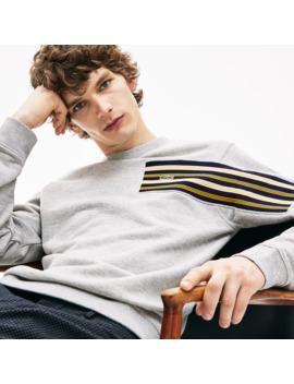 Men's Striped Panel Cotton Fleece Sweatshirt by Lacoste