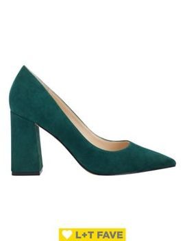 Jenny Suede Pointy Block Pumps by Marc Fisher Ltd