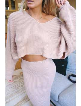 Meggan Grubb Stone V Neck Knit Cropped Jumper by In The Style