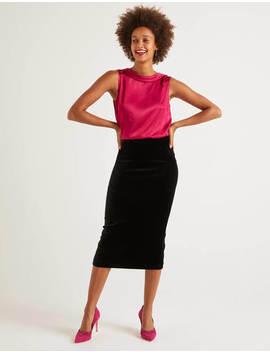 Lorna Velvet Pencil Skirt   Black by Boden