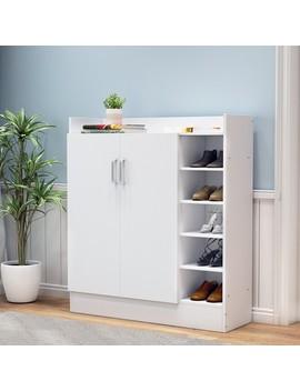 17 Pairs Shoe Cabinet Rack Wooden Storage Shelf Organiser 2 Doors Cupboard   White by Crazy Sales