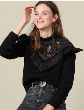 Sweater With Broderie Anglaise Panel by Sandro Paris